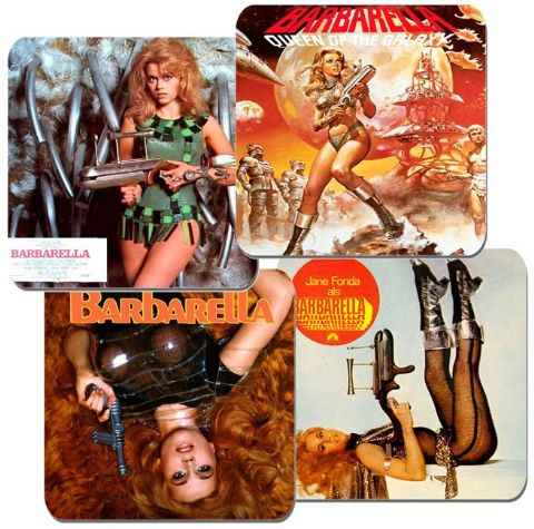Barbarella Coasters Set Of 4. High Quality Cork. Vintage Sci Fi Space Movie Gift